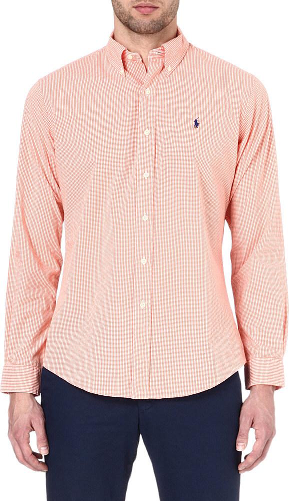 ralph lauren button down polo player shirt in pink for men