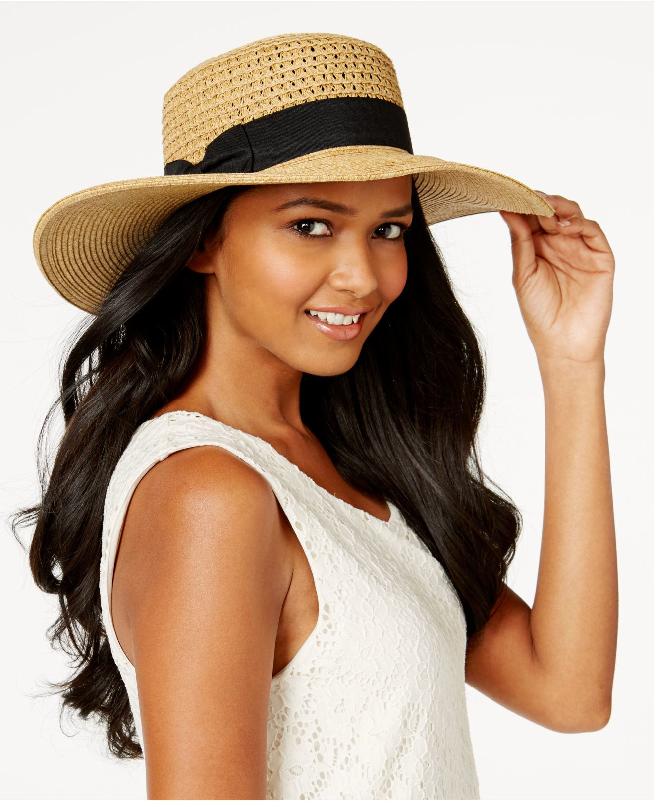 1c4cce0f6694 Nine West Packable Large Brim Boater in Brown - Lyst
