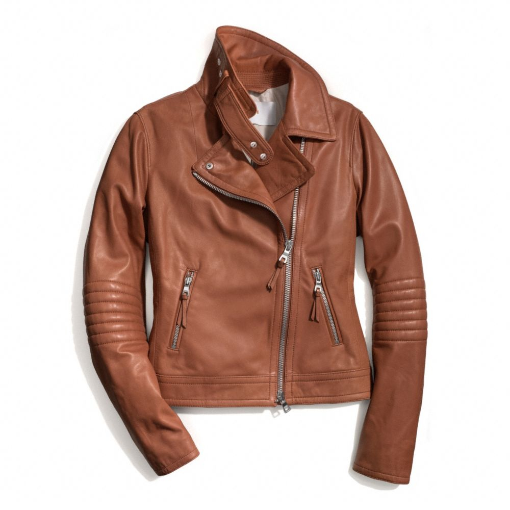 Lyst Coach Slim Leather Moto Jacket In Brown