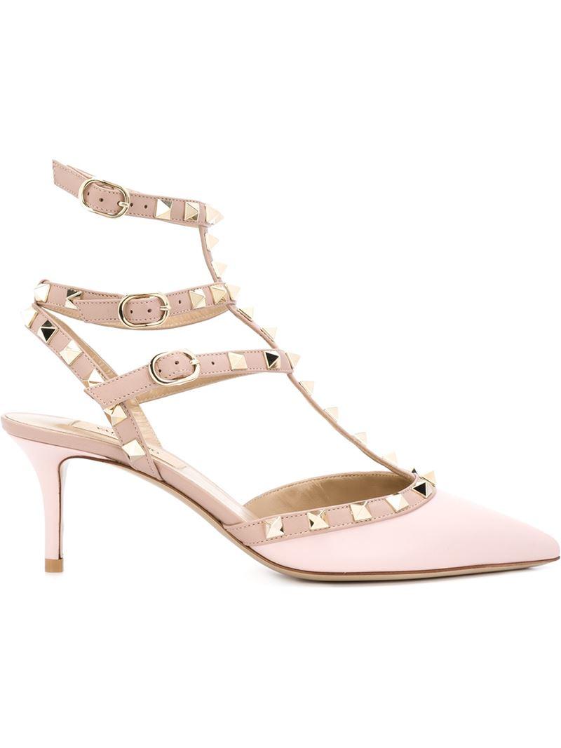 Valentino Garavani Rockstud Patent Leather Sandals in Pink ...