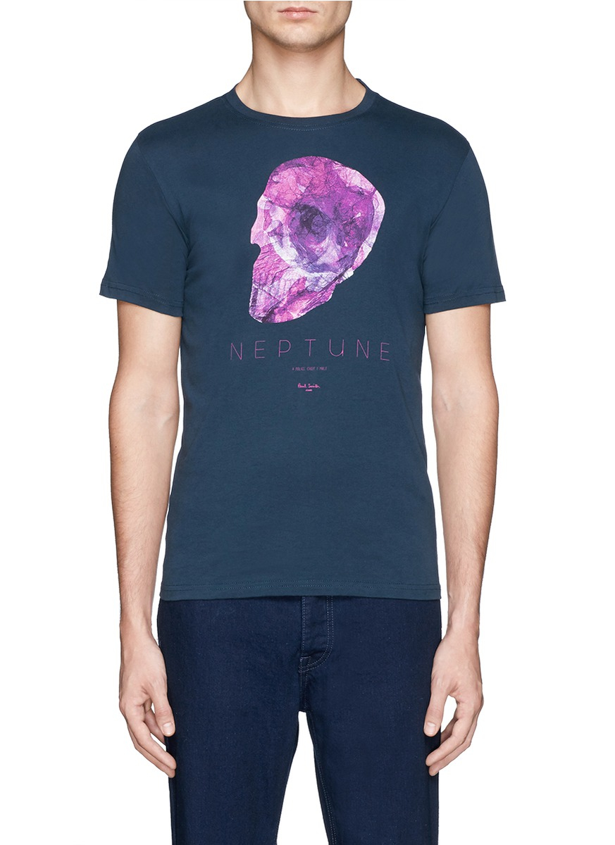 Lyst paul smith skull print organic cotton t shirt in for Organic cotton t shirt printing