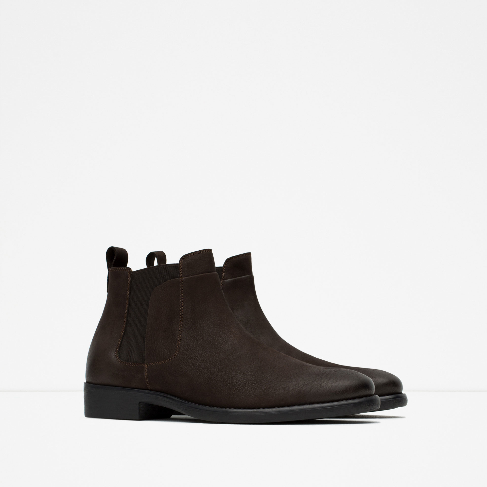 zara leather chelsea boots in brown for men lyst