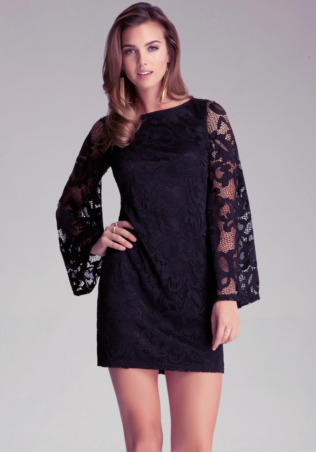 Lyst Bebe Bell Sleeve Lace Dress In Black