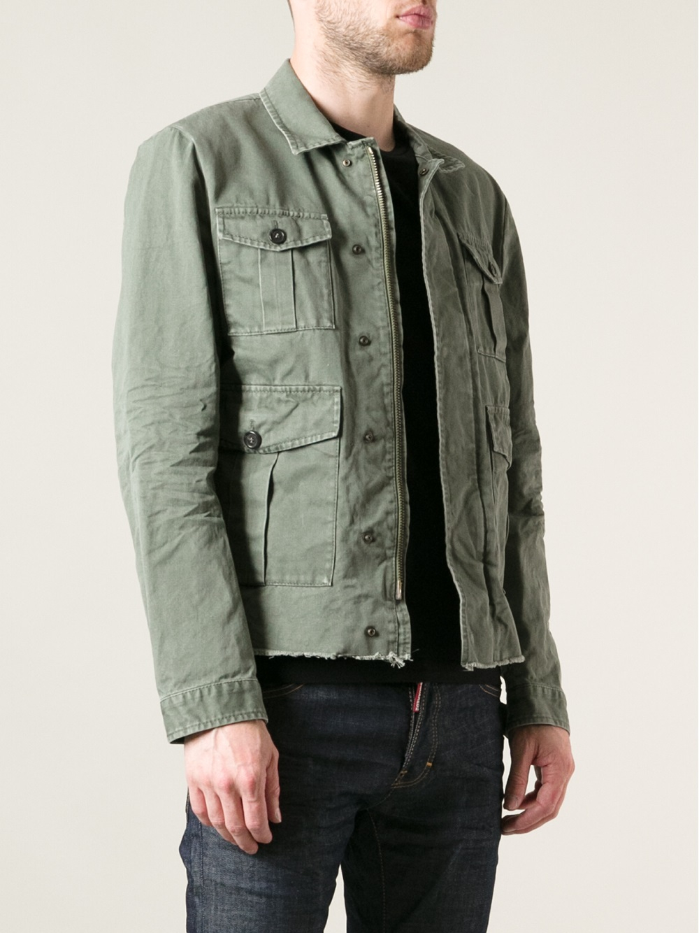 Green Denim Jacket Mens - JacketIn