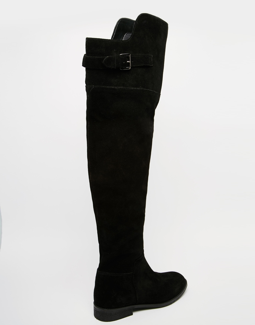 a90949d3c8a ASOS Kowtow Wide Fit Leather Over The Knee Boots in Black - Lyst