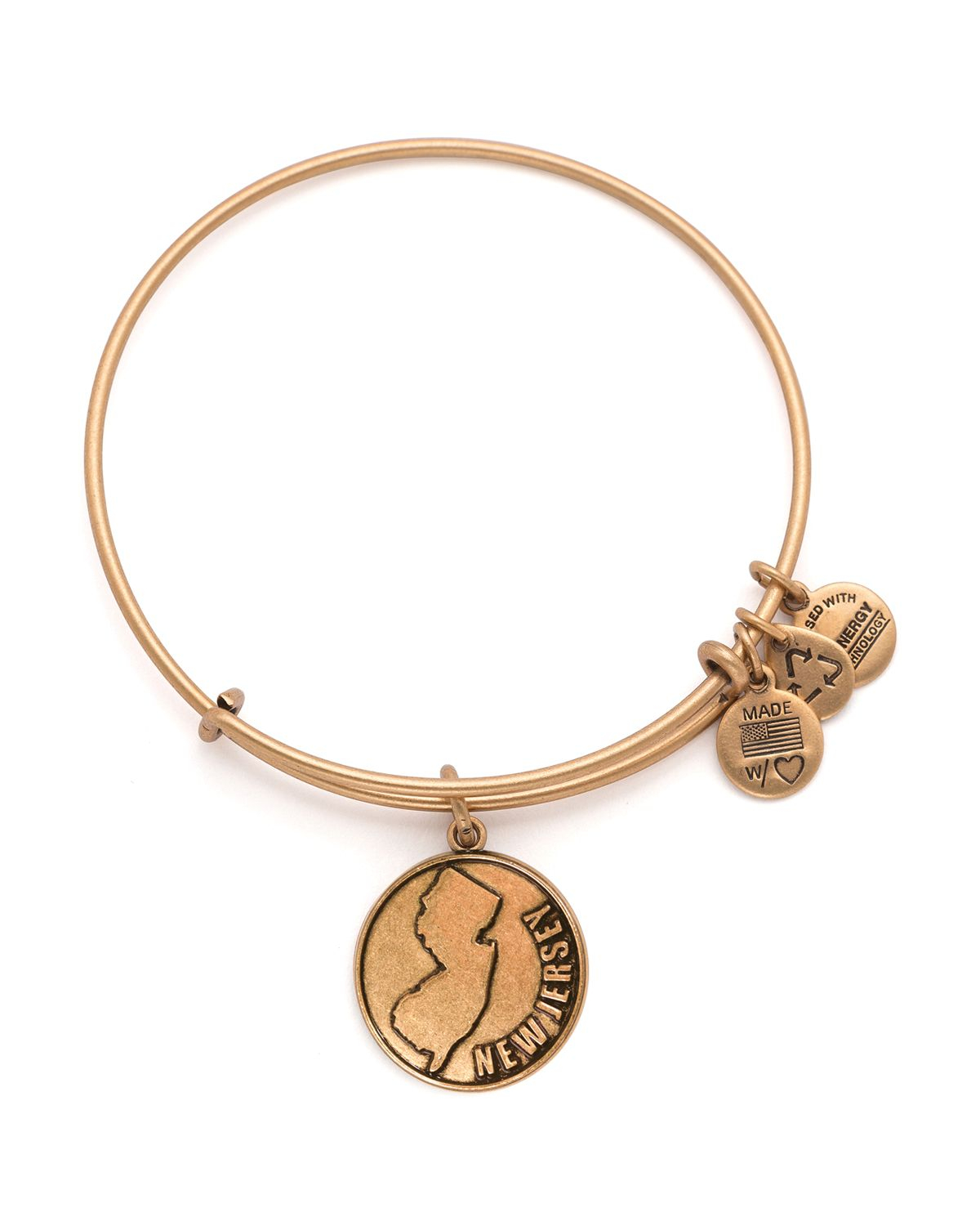 Alex And Ani New Jersey Expandable Wire Bangle In Gold