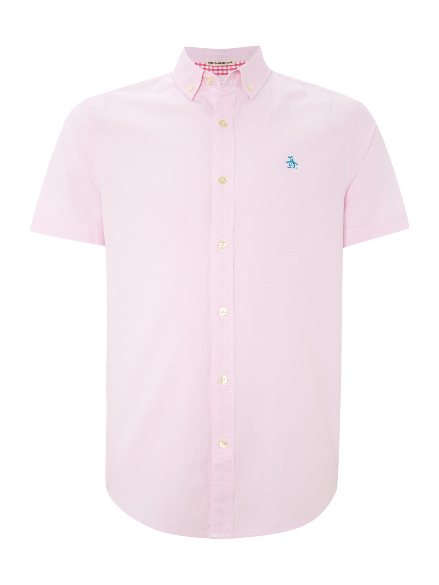 Original penguin classic fit short sleeve oxford shirt in for Pink oxford shirt men