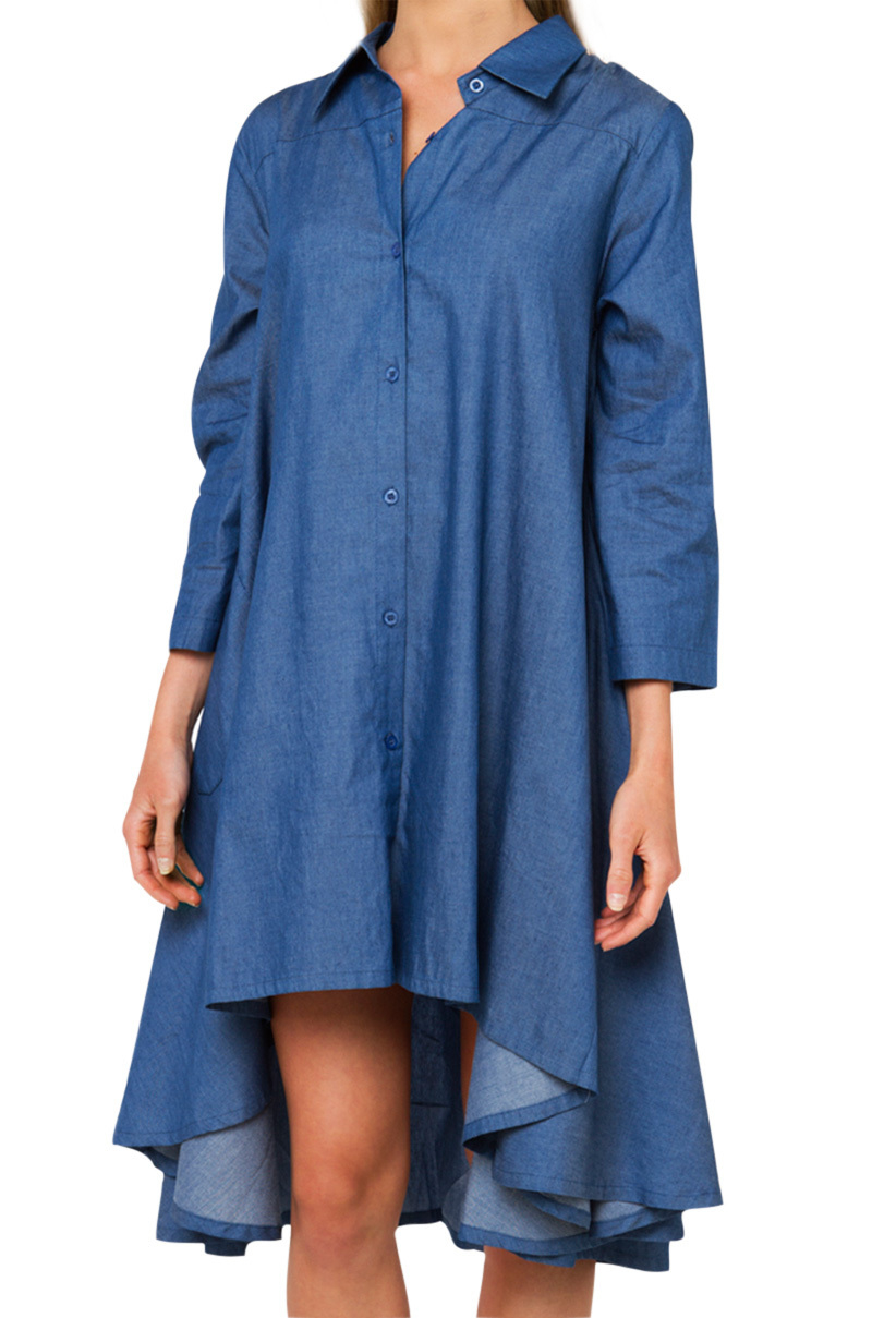 Lyst Gracia Hi Lo Dark Denim Dress In Blue