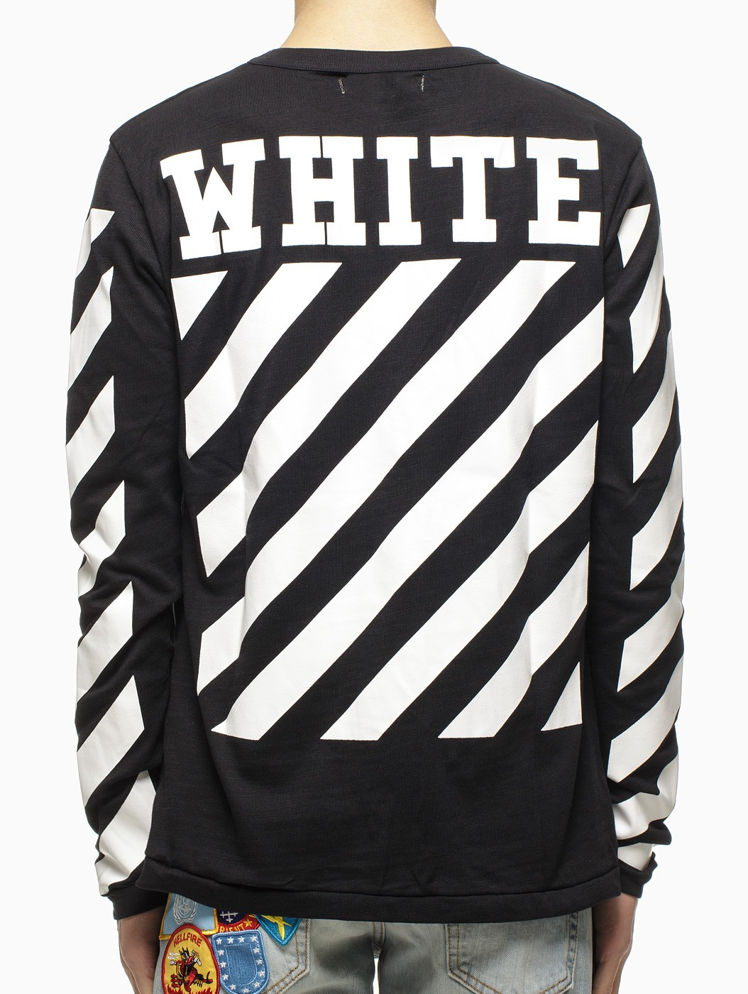 a2160f77b Lyst - Off-White c/o Virgil Abloh Striped Long Sleeve T-Shirt in ...