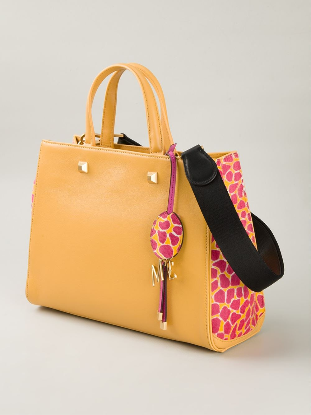 MCM Giraffe Print Tote in Yellow & Orange (Orange)