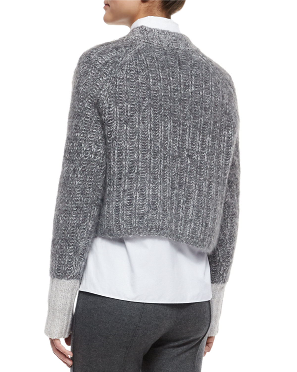 Rag & bone Makenna Cropped Knit Sweater in Gray | Lyst
