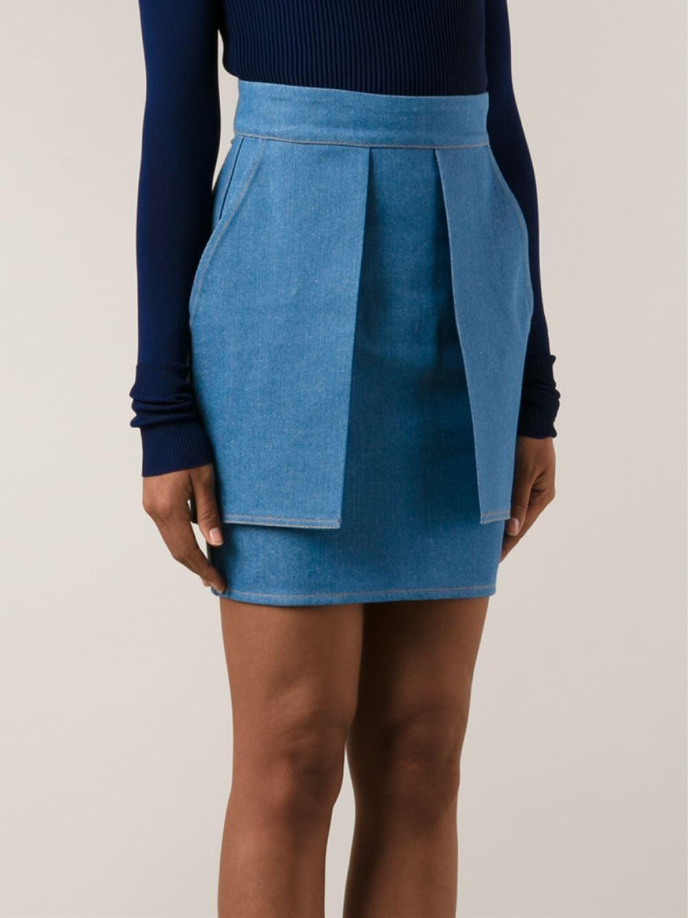 eckhaus latta layered denim mini skirt in blue lyst