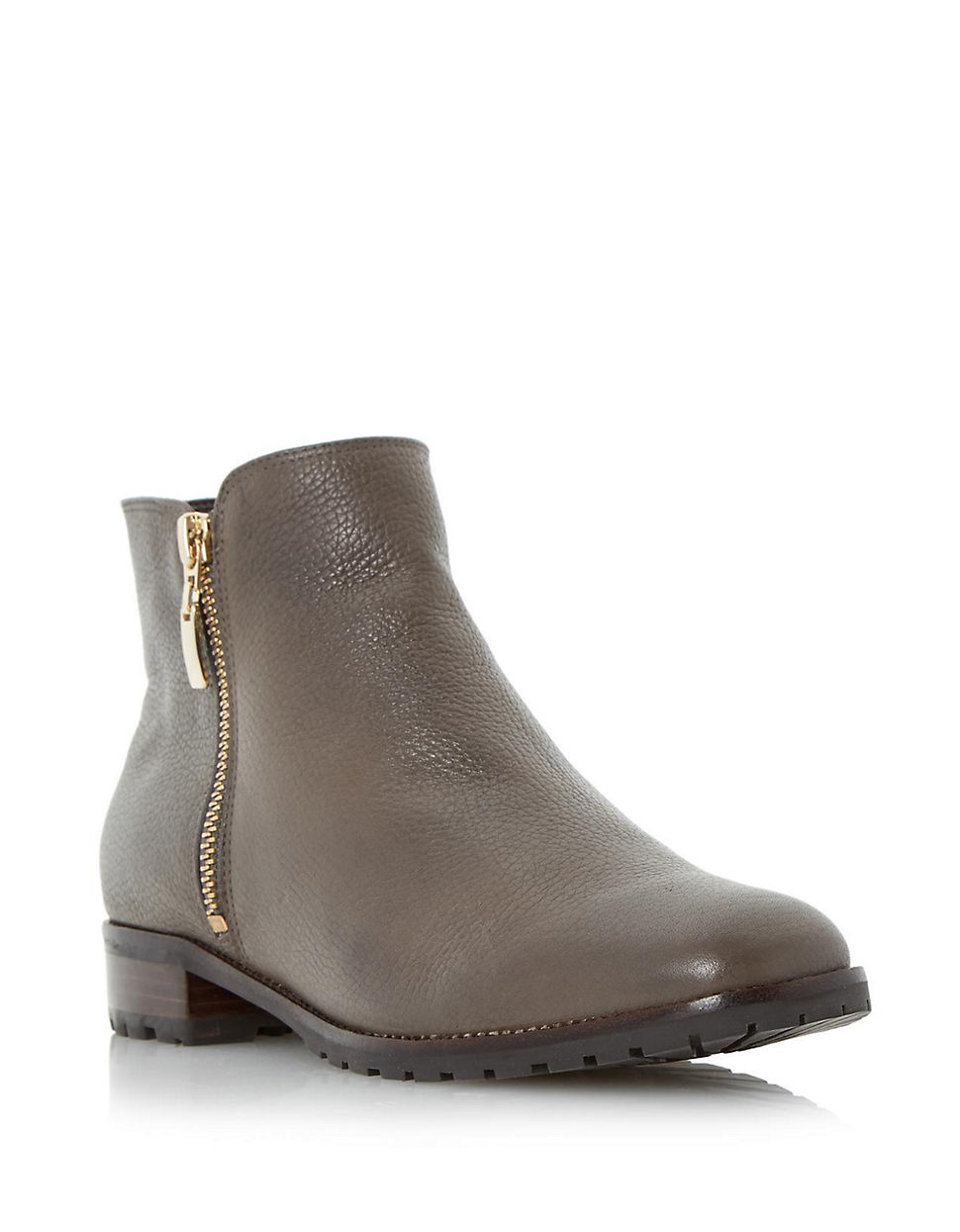 dune porta leather ankle boots in gray grey lyst. Black Bedroom Furniture Sets. Home Design Ideas
