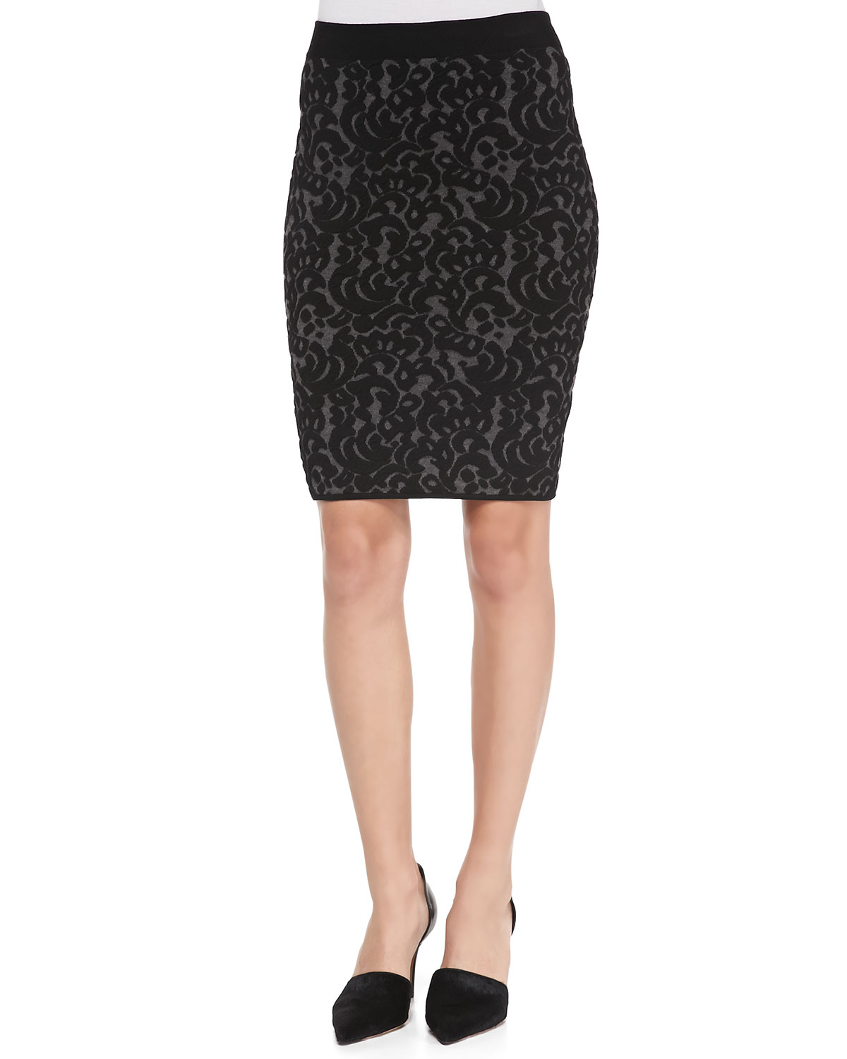 Milly Knit Lace Pencil Skirt in Black | Lyst