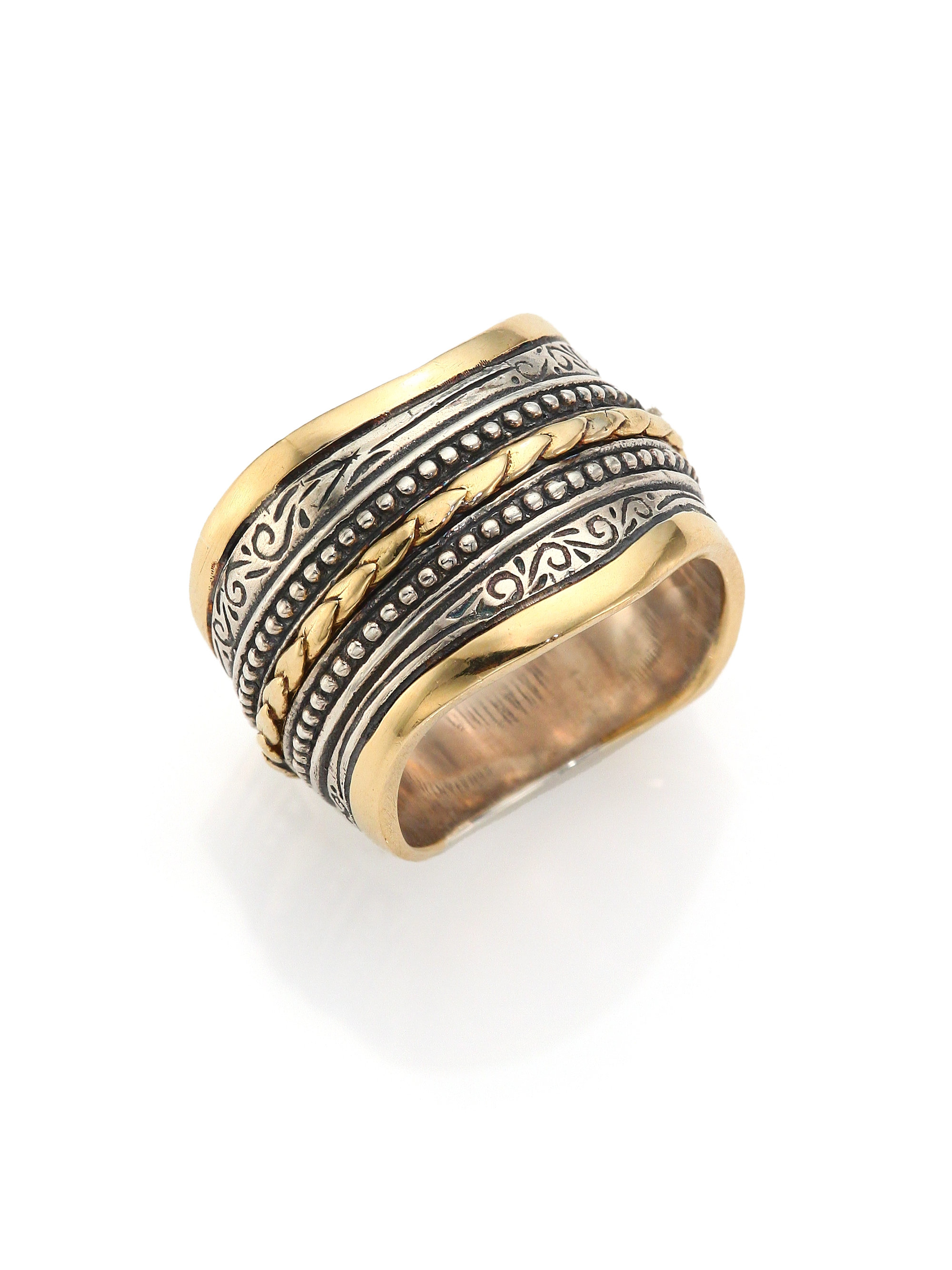 konstantino hebe 18k yellow gold sterling silver ring in