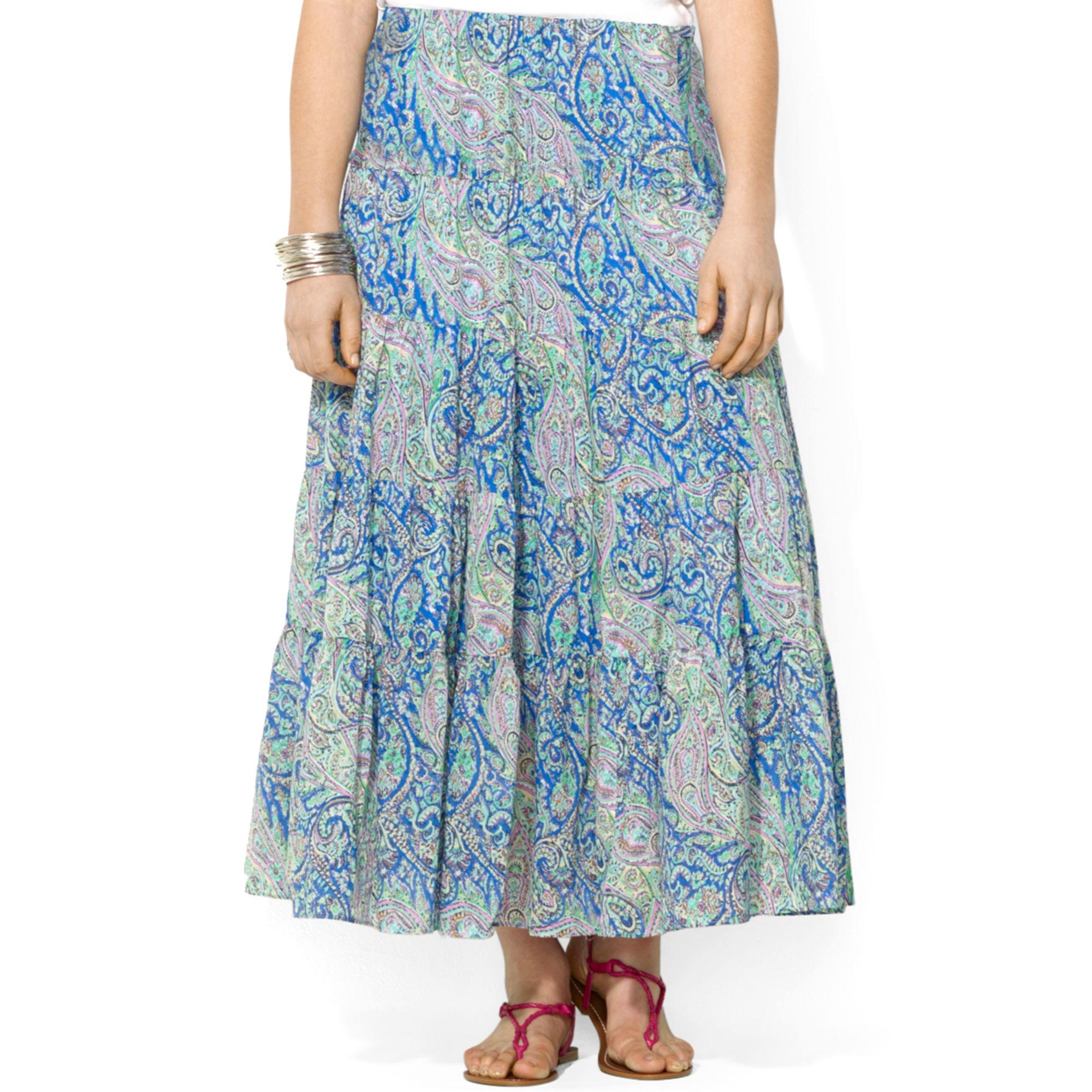 ecffbf45af10c Lyst - Lauren by Ralph Lauren Plus Size Tiered Paisleyprint Maxi ...