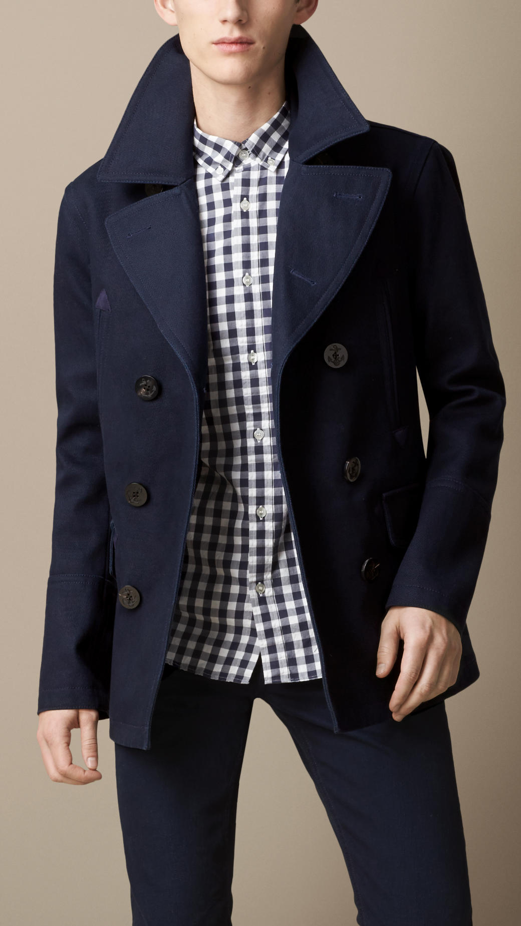 Burberry Bonded Cotton Twill Pea Coat in Blue for Men | Lyst
