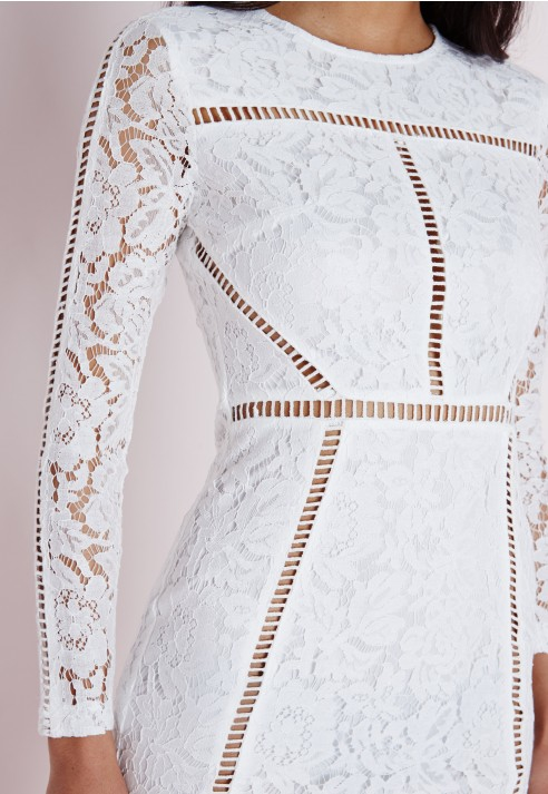 Lyst Missguided Lace Ladder Detail Bodycon Dress White