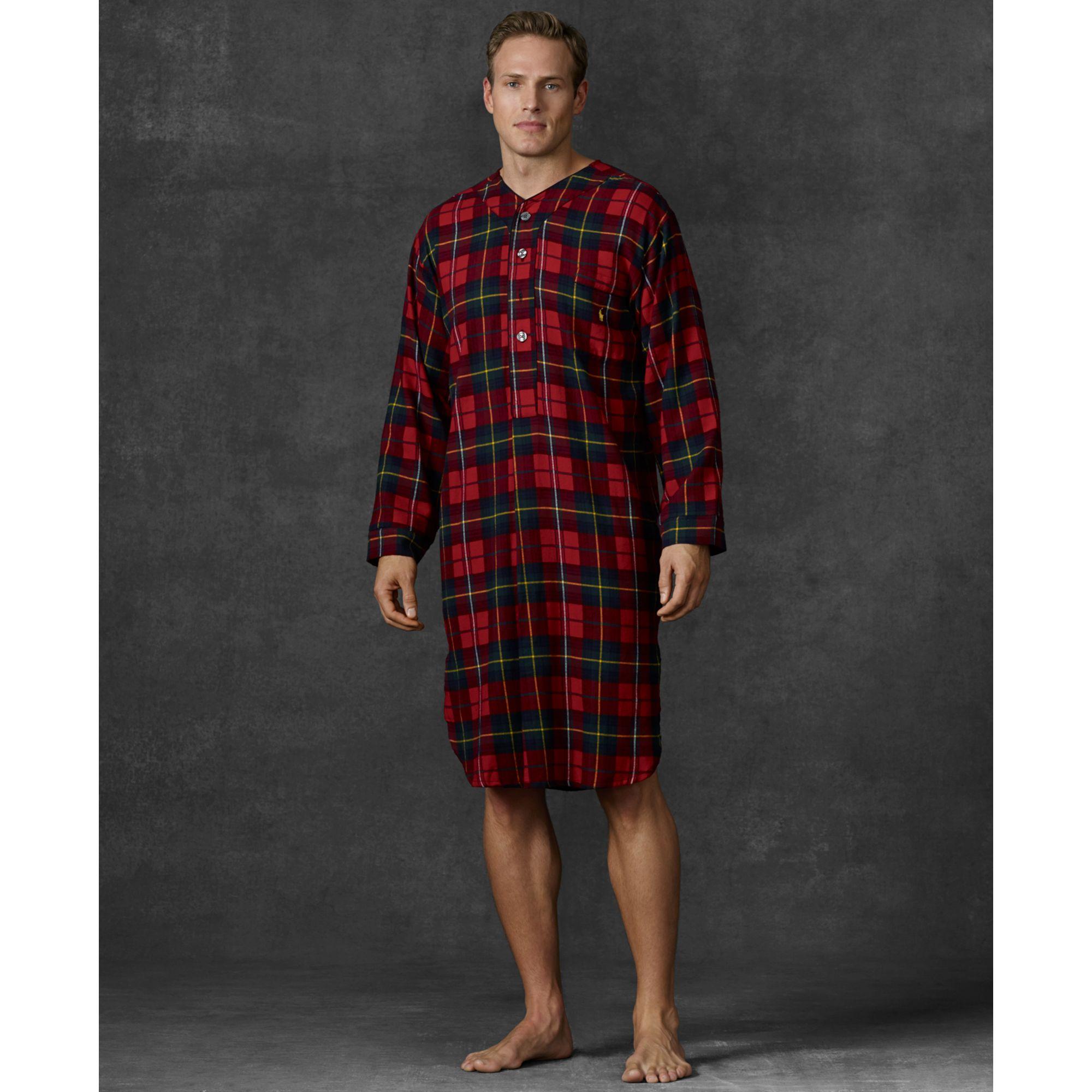 Lyst ralph lauren long sleeve plaid flannel sleep shirt for Long plaid flannel shirt