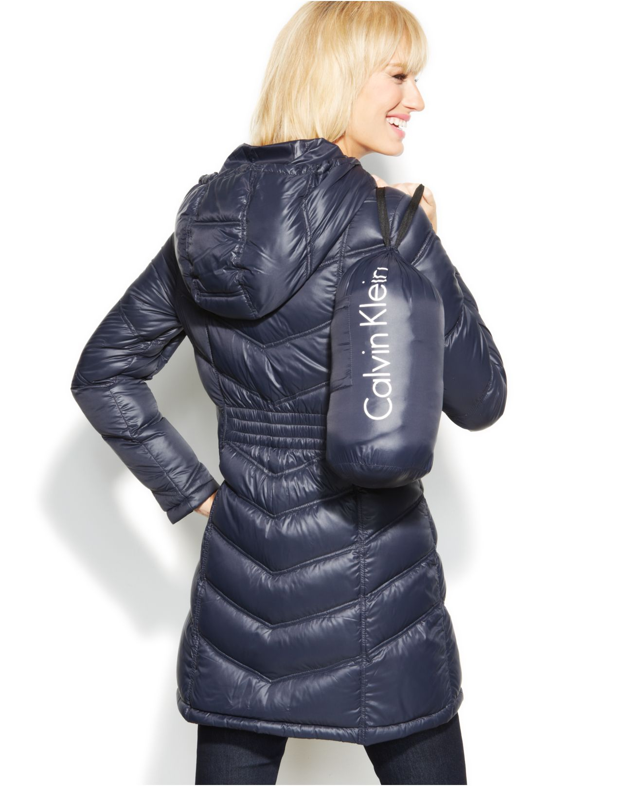 Calvin Klein Quilted Down Packable Puffer Coat In Navy