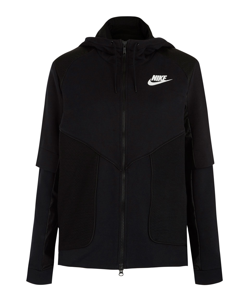 Lyst - Nike Black Perforated Full-zip Hoodie Jacket In Black