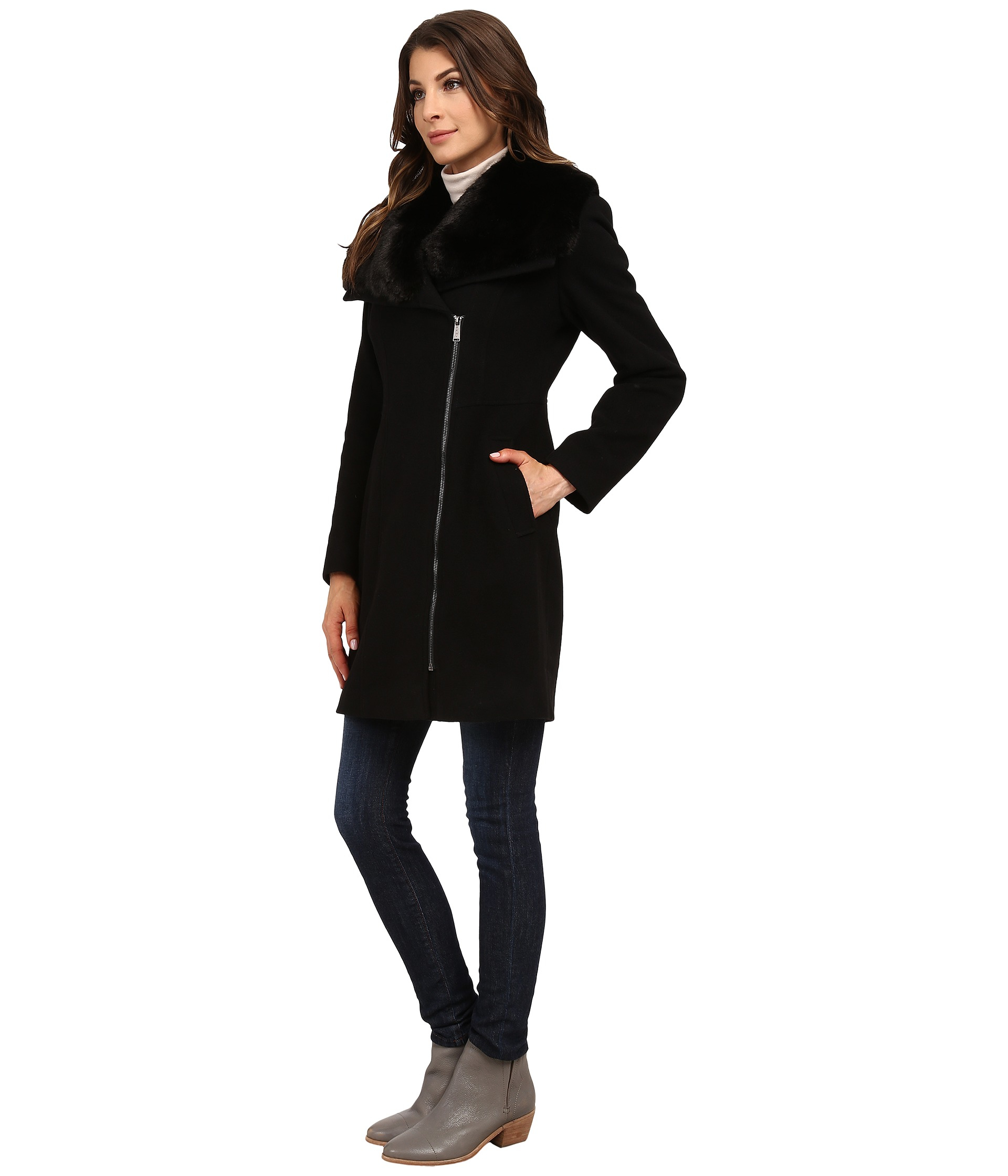 lyst dkny asymmetrical zip w faux fur collar 30967 y5 in black. Black Bedroom Furniture Sets. Home Design Ideas