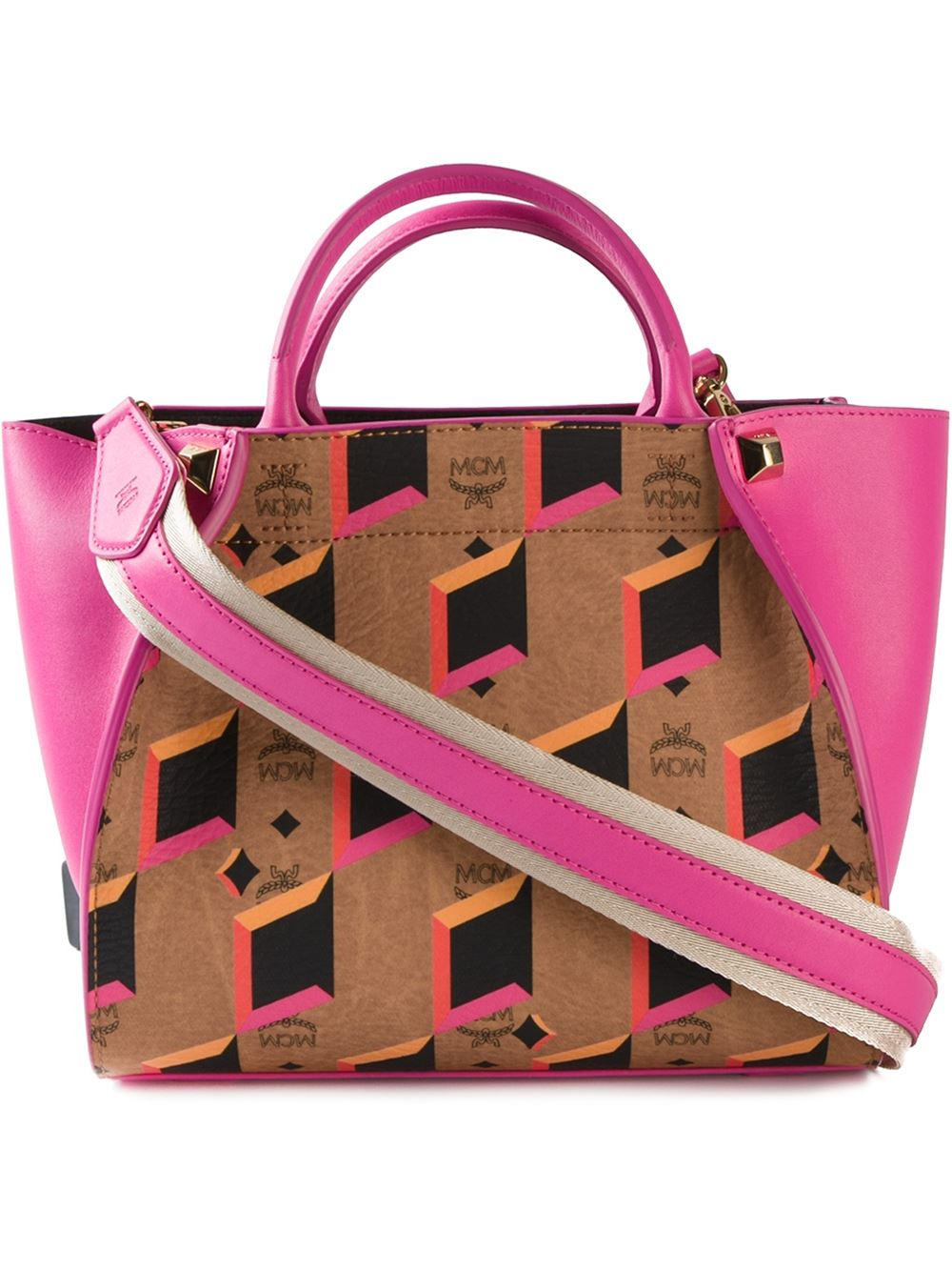 MCM Small 'Tulip' Tote in Pink & Purple (Pink)