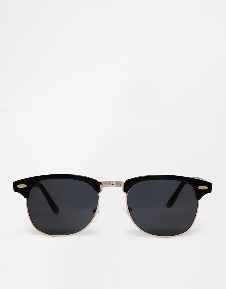 d30c0ce0c20921 Lyst - ASOS Contrast Retro Sunglasses In Black And Tortoiseshell in ...