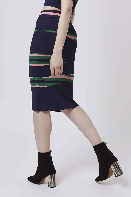 River Island Navy Stripe Midi Skirt