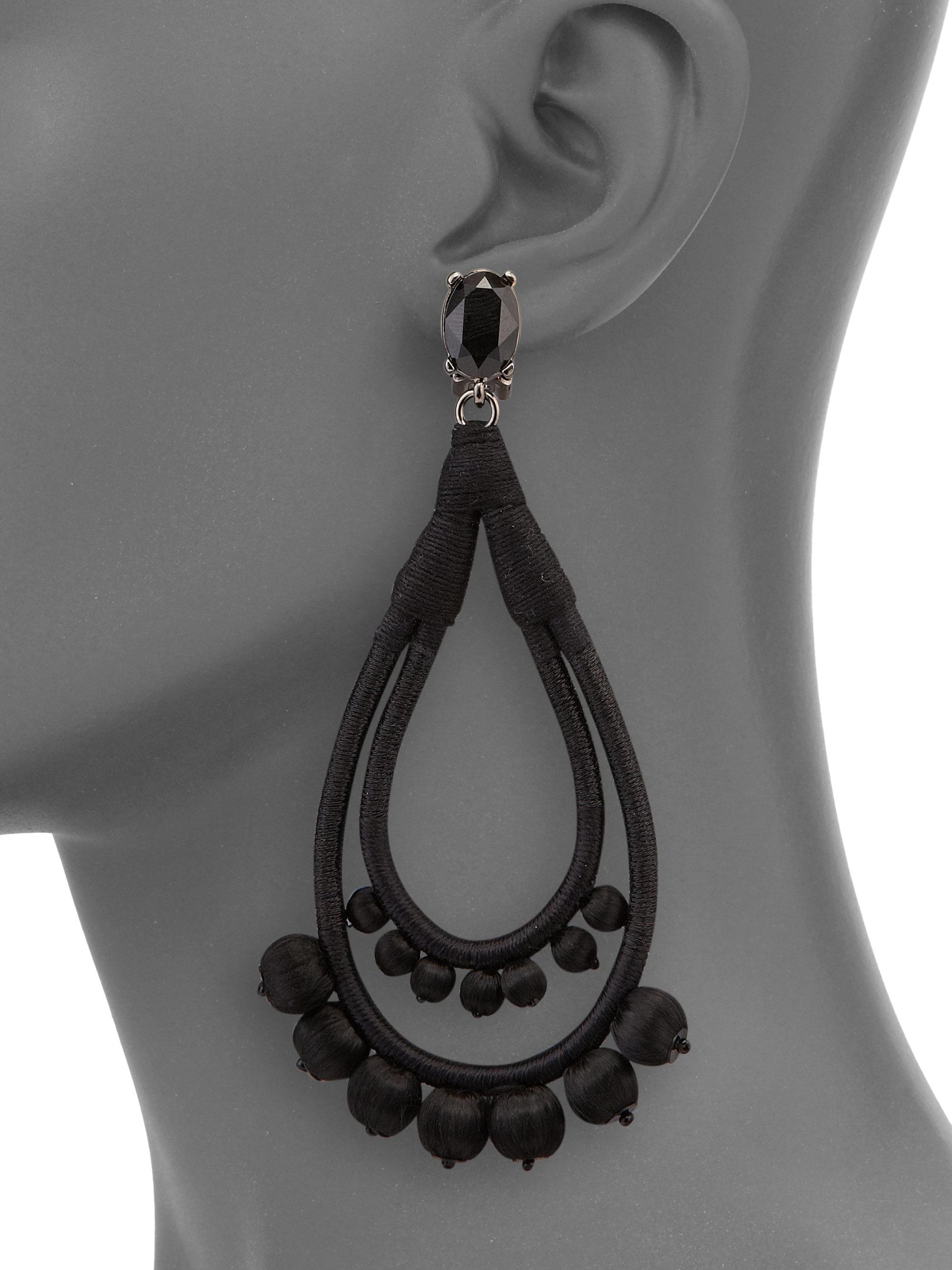 Oscar De La Renta Beaded Cotton Clip Earrings - Black jOiRdepg2