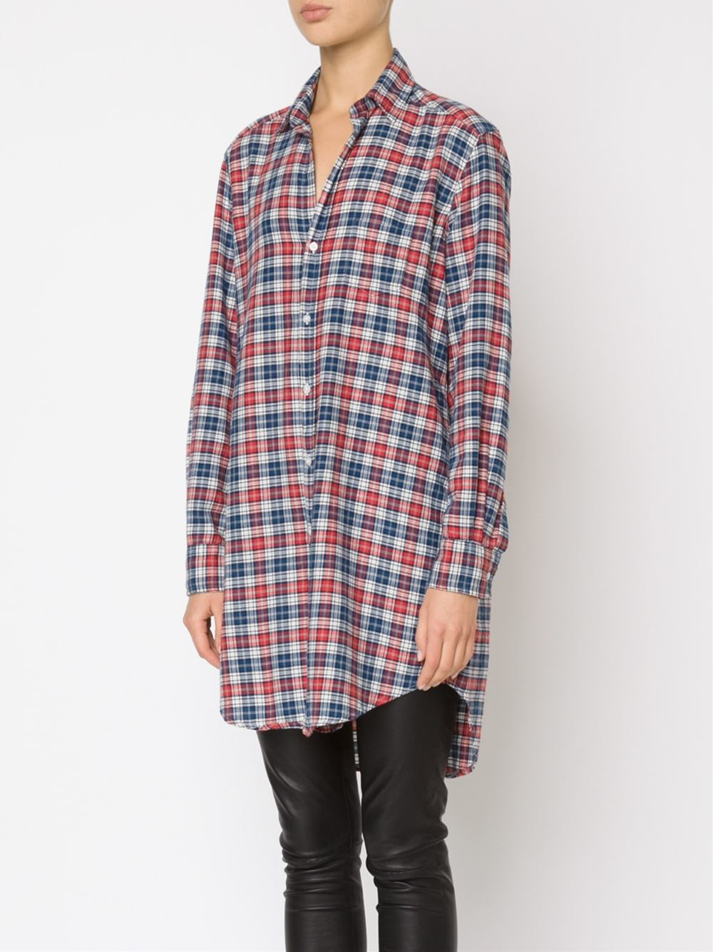 Frank Eileen 39 Mary 39 Plaid Shirt Dress In Red Lyst