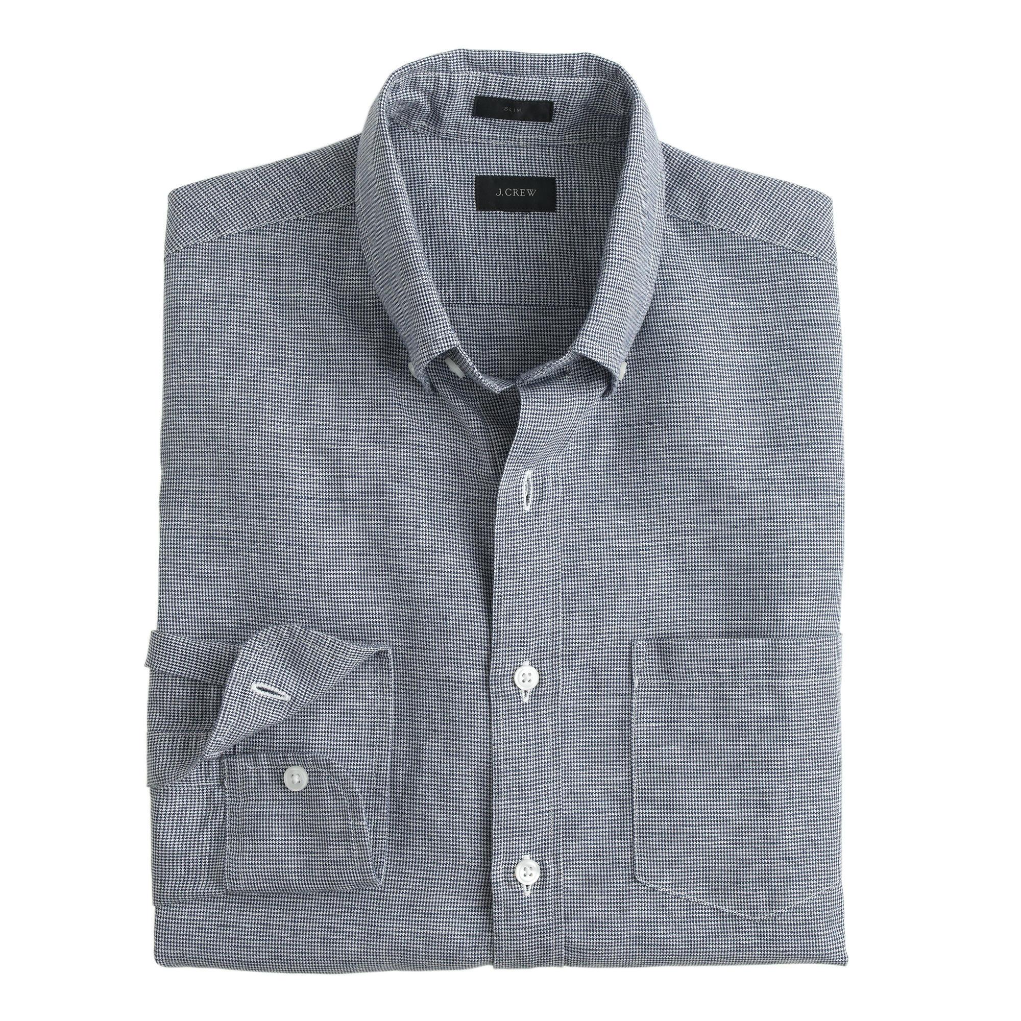 Slim irish linen cotton shirt in houndstooth in for Irish linen dress shirts