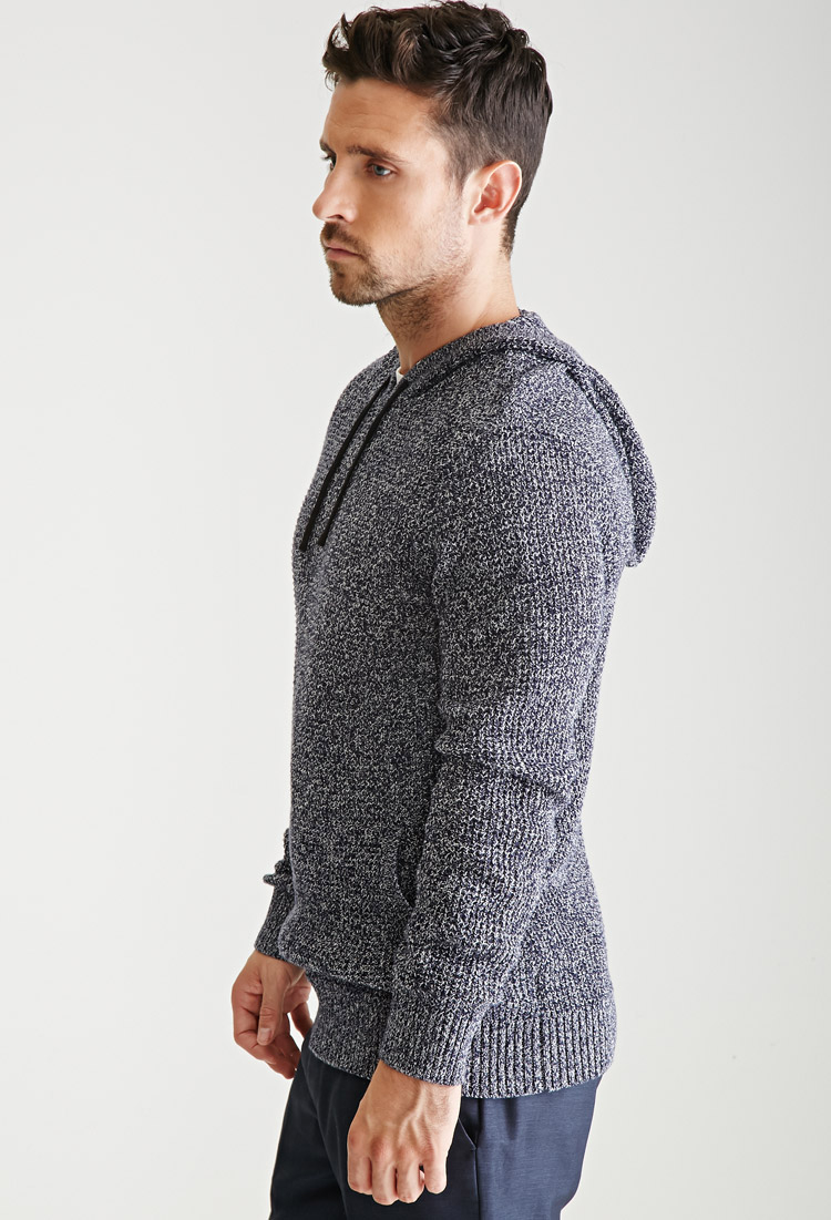Forever 21 Marled Knit Hooded Sweater in Blue for Men | Lyst