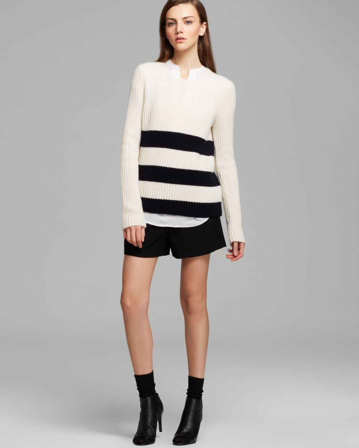 Vince Sweater Ribbed Stripe in White | Lyst