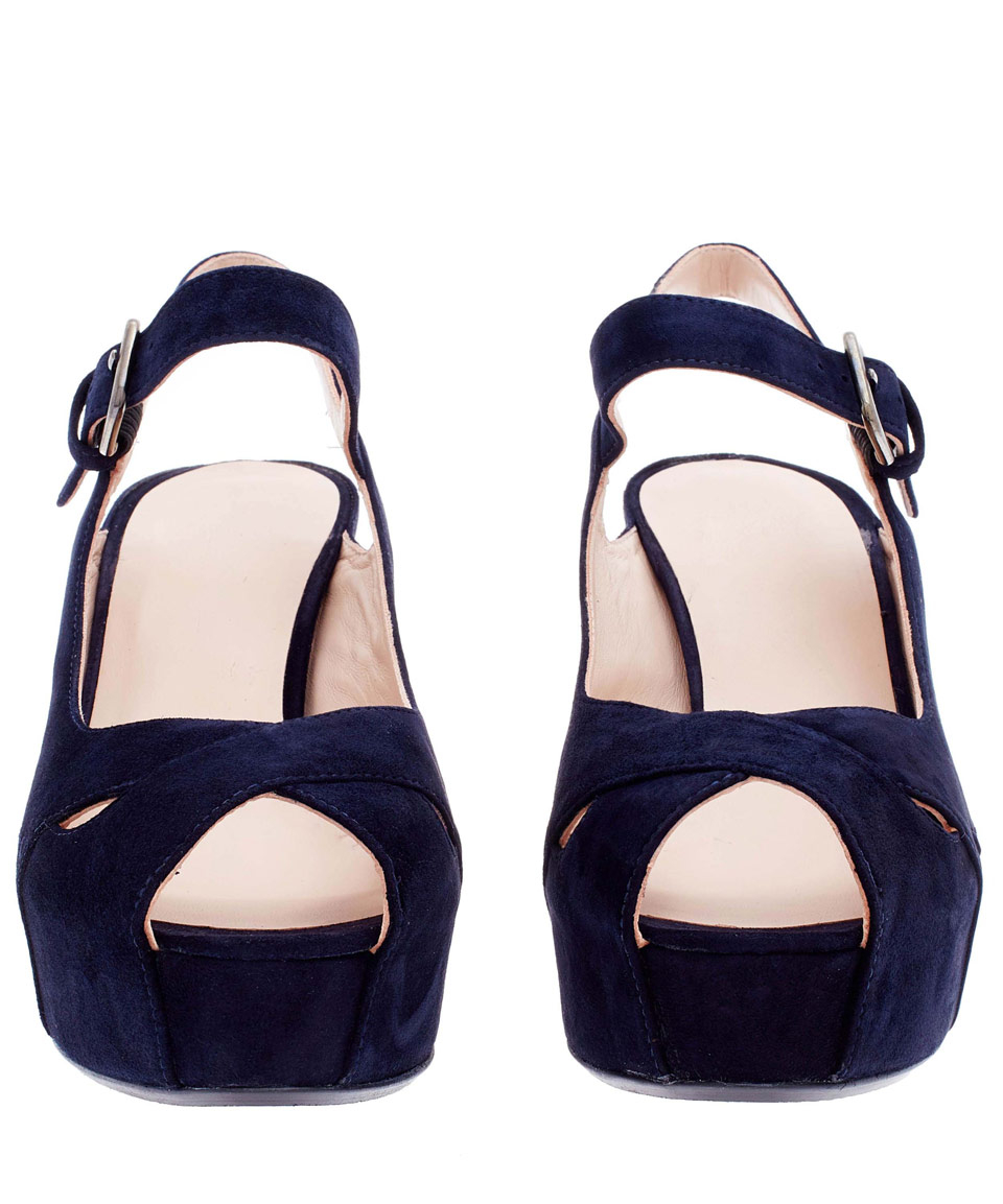 520a82e61bee1 Stuart Weitzman Navy Turnover Suede Wedge Sandals in Blue - Lyst