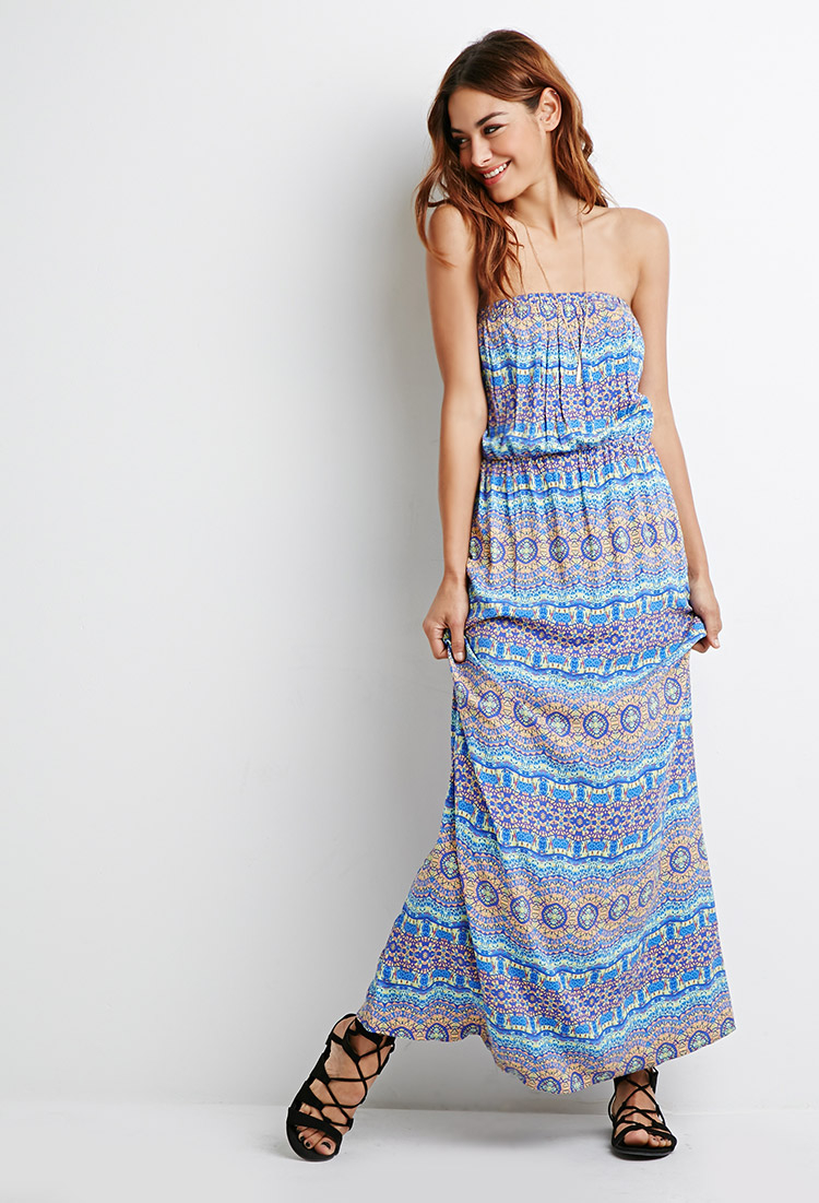 Forever 21 Strapless Print Maxi Dress in Blue  Lyst