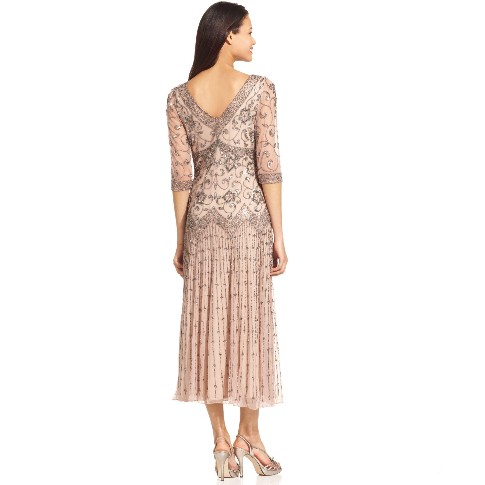 Lyst Pisarro Nights Threequartersleeve Beaded Gown In Pink