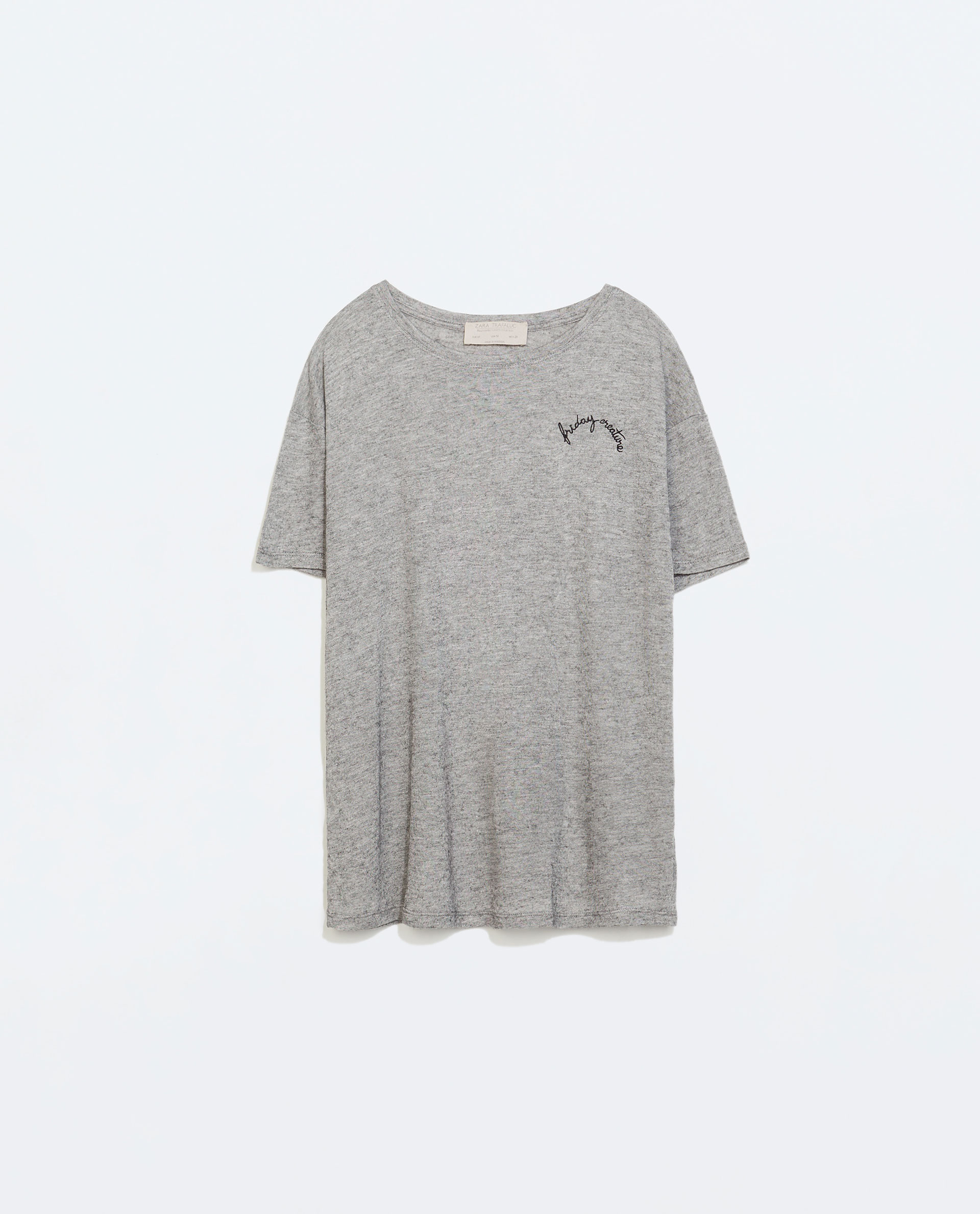 Zara embroidered t shirt in gray lyst