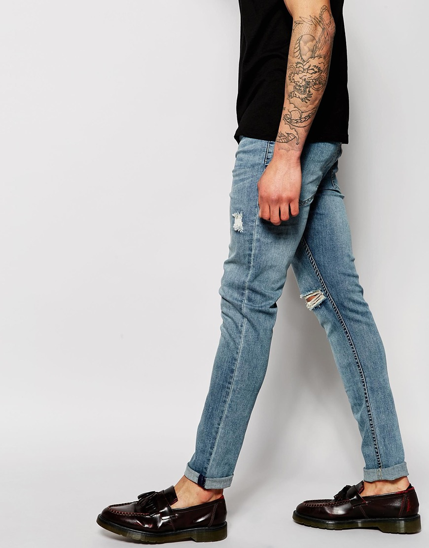 Cheap monday Jeans Tight Skinny Fit Posted Worn Blue Distressed in ...