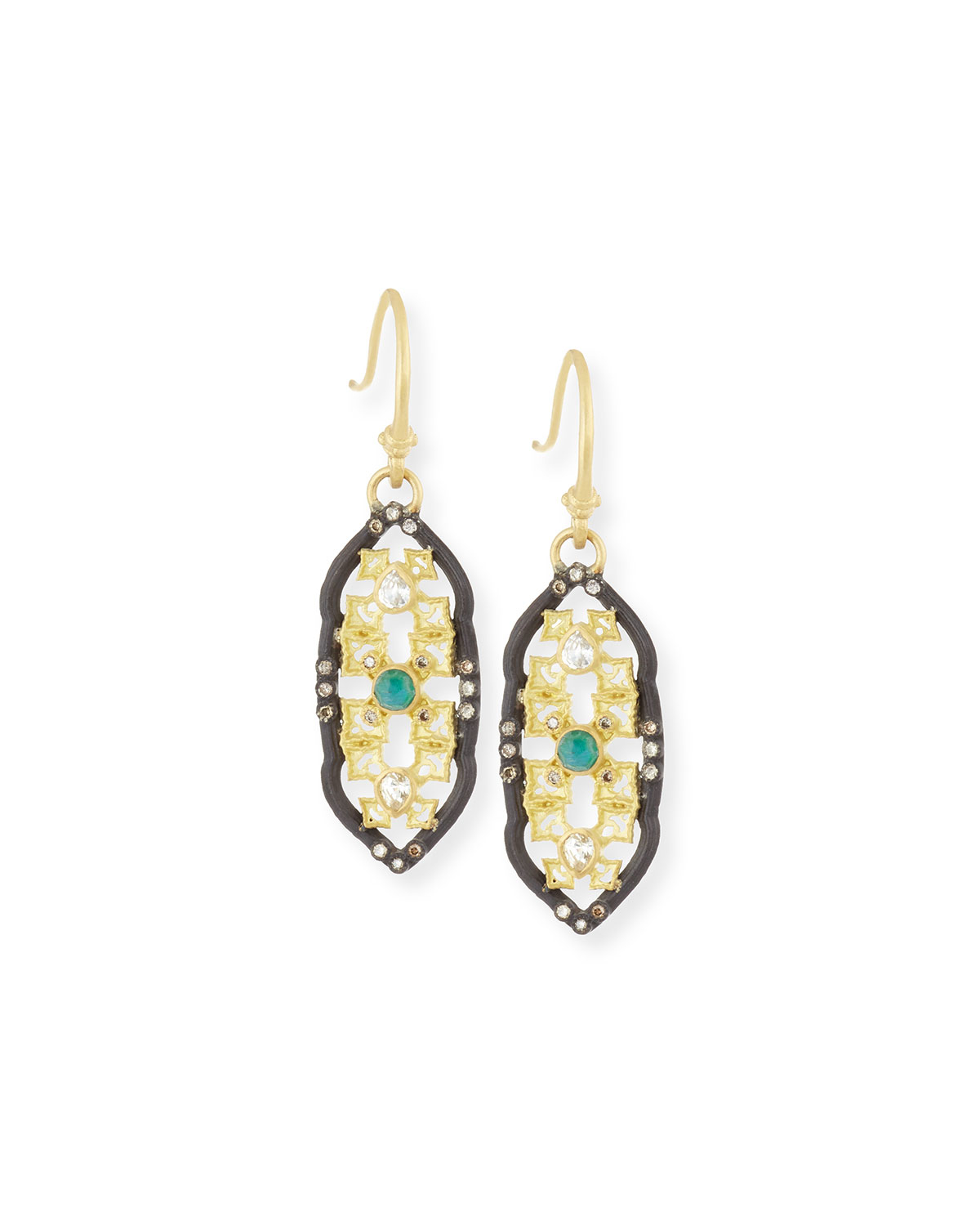 Armenta Old World Scalloped Aquaprase Cabochon Earrings with Diamonds fs5wfiqN3T
