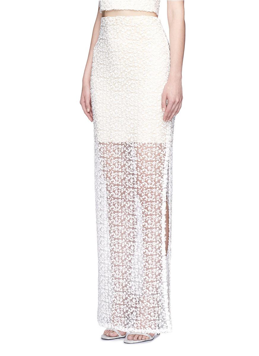 misha lace sheer hem maxi skirt in white