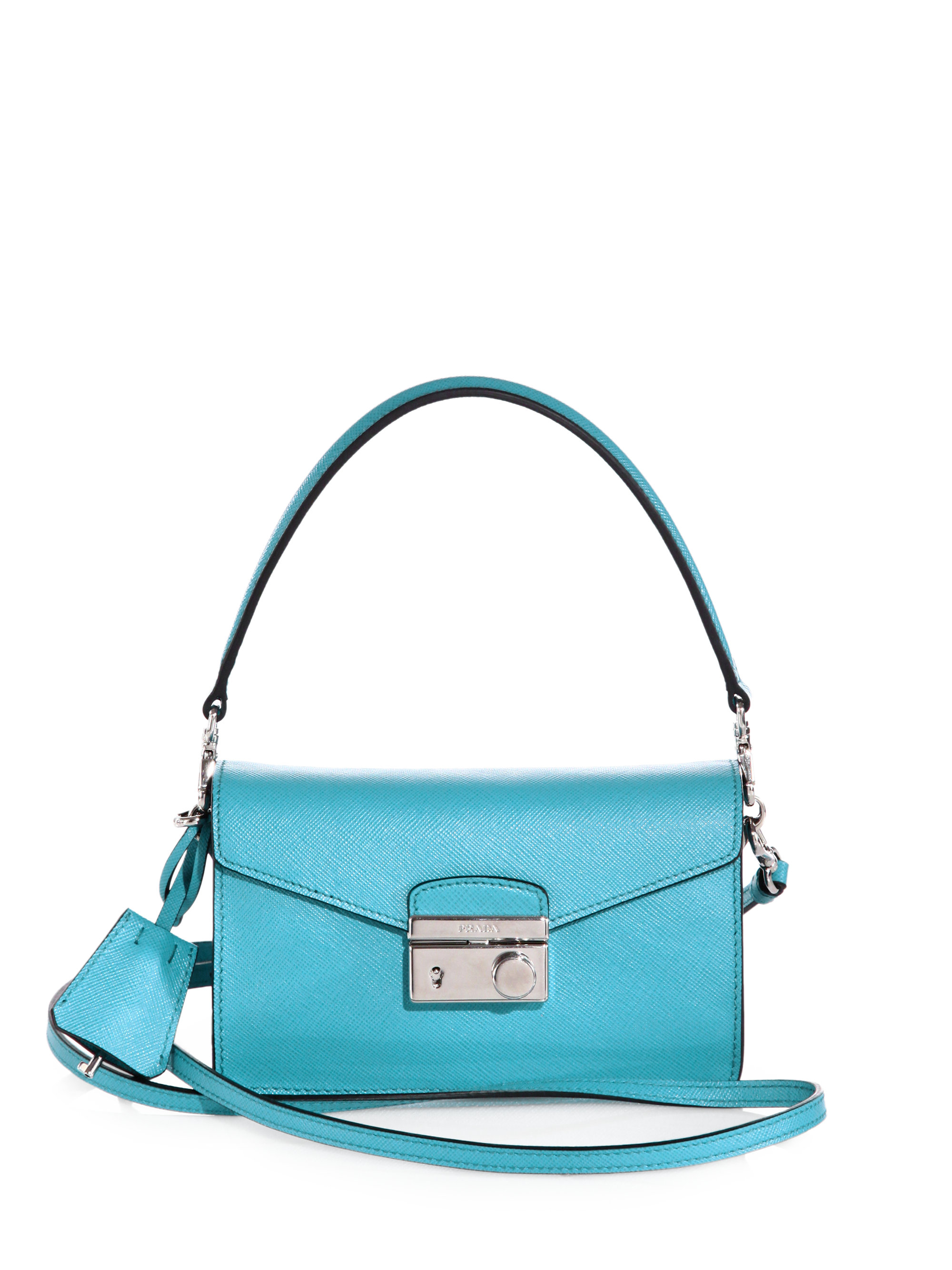 Prada Saffiano Leather Mini Sound Crossbody Bag in Blue | Lyst