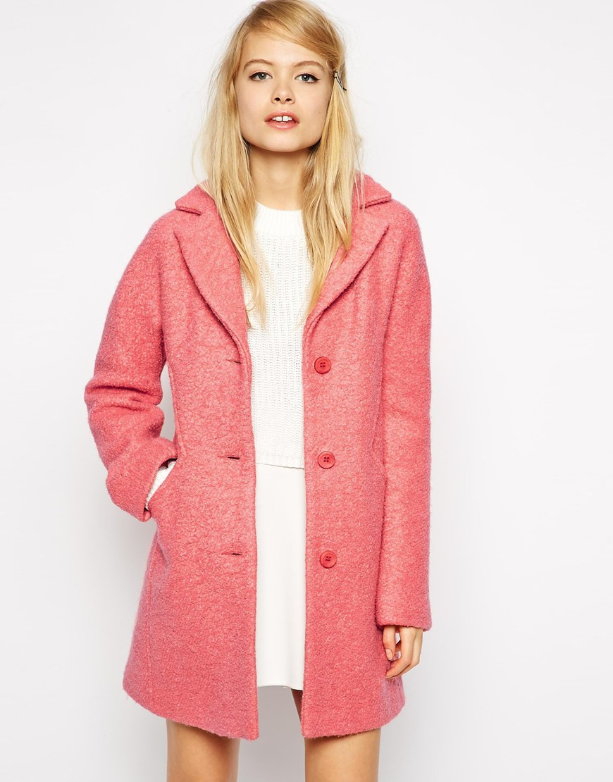 Asos Coat With Seam Detail In Textured Wool in Pink | Lyst