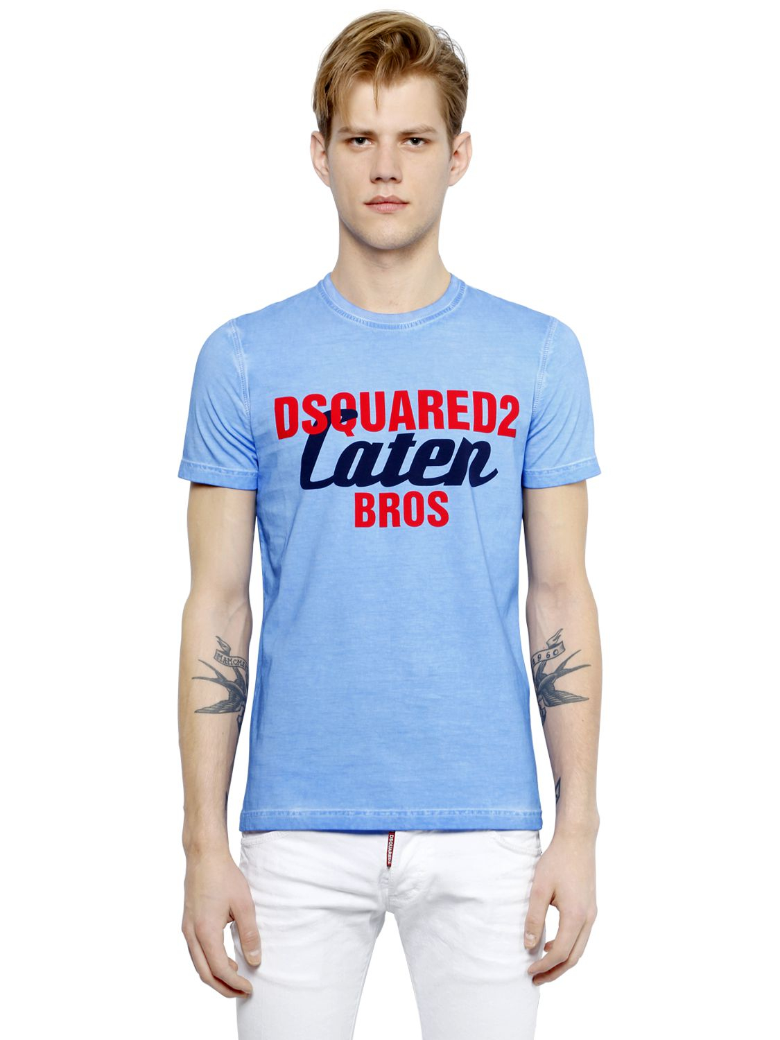 Dsquared logo printed faded cotton t shirt in blue for for Faded color t shirts