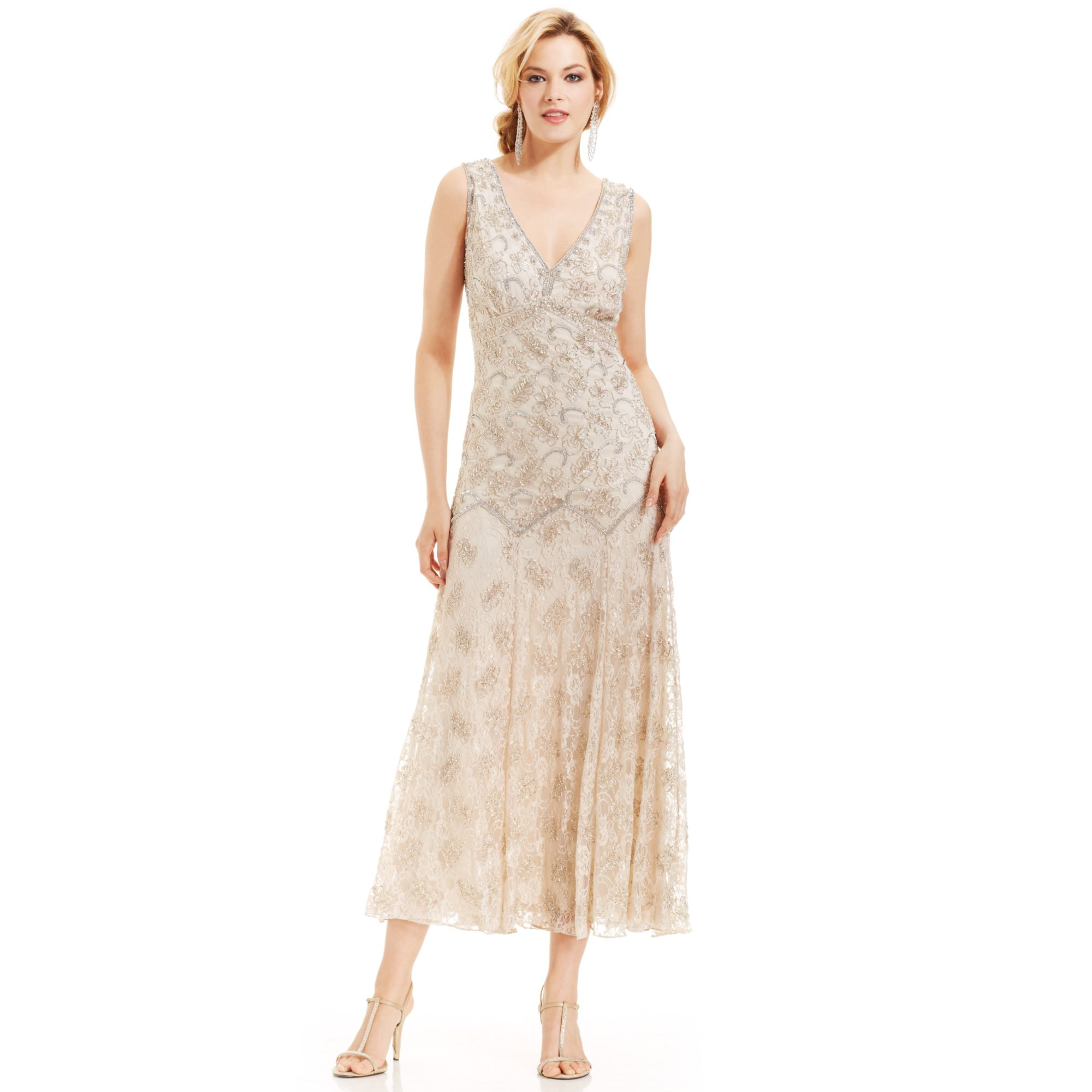 Lyst - Pisarro Nights Sleeveless Beaded Lace Gown in Natural