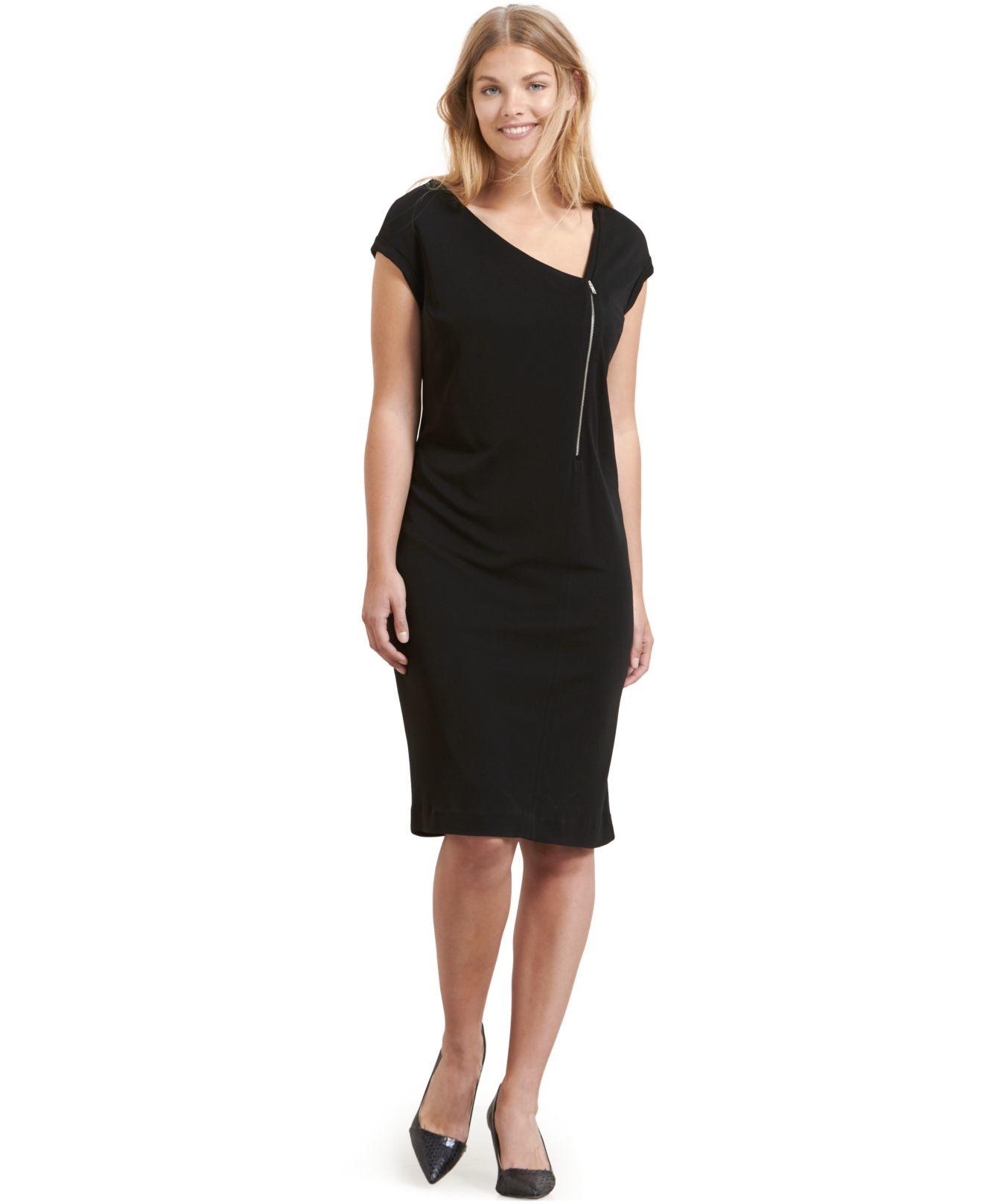 decbdcc1c19 Lyst - Violeta by Mango Plus Size Zip-front Sheath Dress in Black