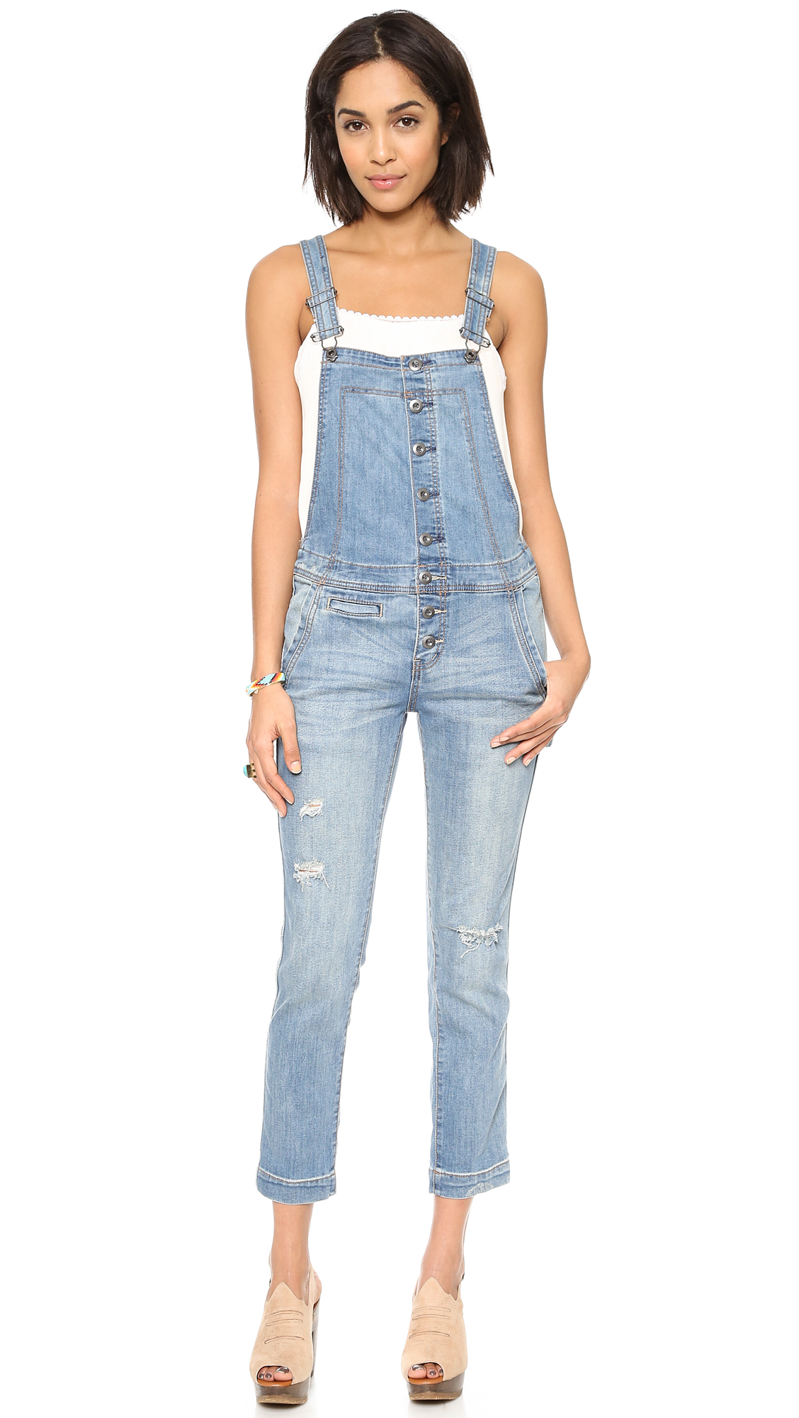 Lyst - Free People Button Front Overalls - True Wash in Blue