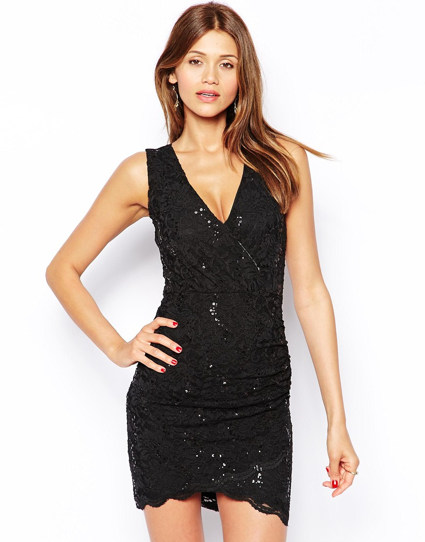Lyst Lipsy Lace Bodycon Dress With Deep V In Black