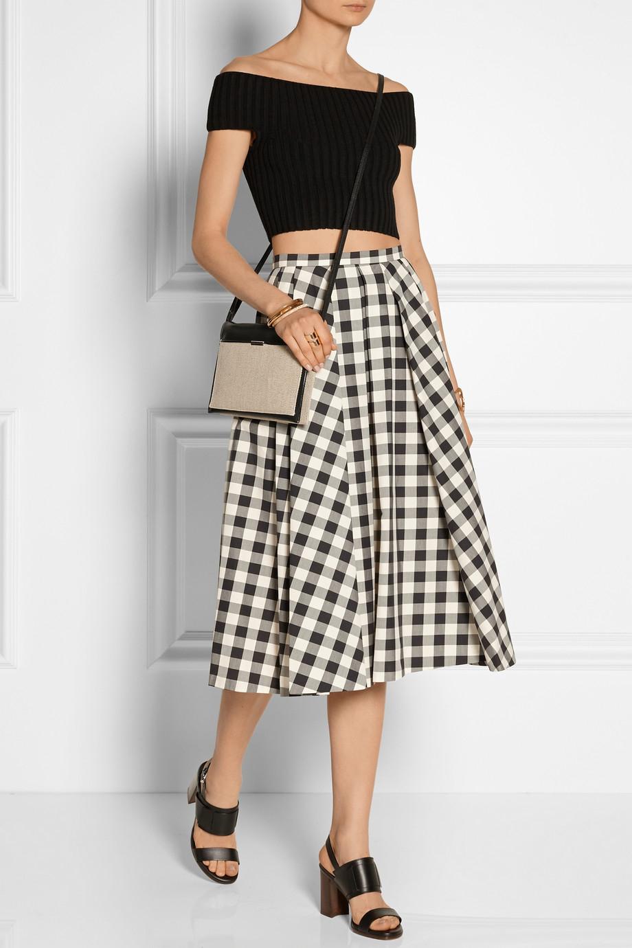 michael kors gingham cotton midi skirt in black lyst