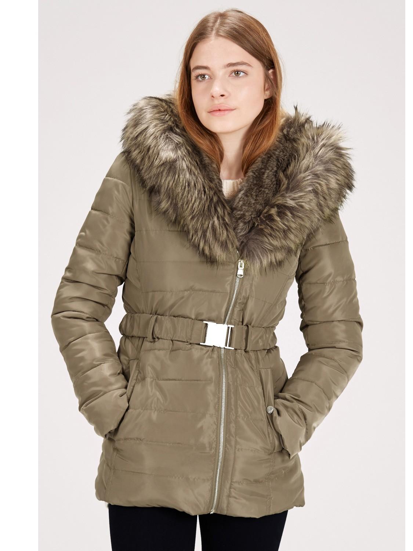 Warehouse Asymmetric Parka Coat in Brown | Lyst